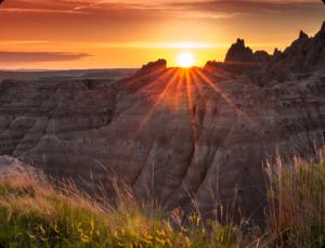 a mountain sunset